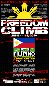 freedom climb poster 2010 171x300 Mountaineering in Cebu
