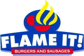 Flame It logo FLAME IT! Burgers and Sausages