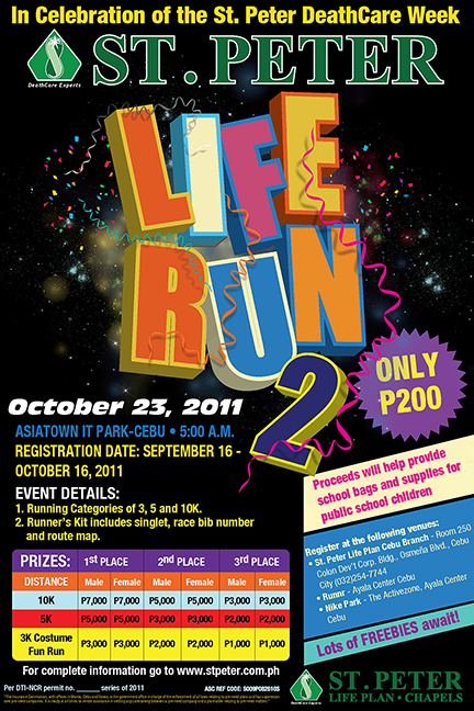 liferun cebu poster St. Peter Life Run 2 on October 23