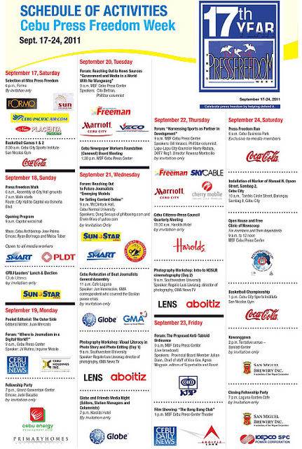 17th cebu press freedom week schedule Cebu Press Freedom Week 2011