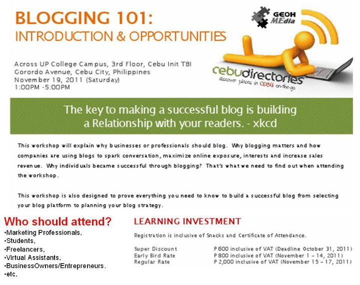 blogging 101 BLOGGING 101: Introduction & Opportunities