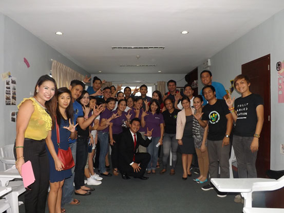 "GVSP together with Parklane Hotel employees pose with "" I LOVE YOU "" handshape after a successful one day workshop on Deaf culture sensitivity, Basic Filipino Sign Language and Courtesies to Persons With Disabilities (PWD) last  May 30,2013 at the Parklane Hotel HR Training room. This activity is an advocacy program of GVSP to promote Barrier-Free Tourism and the Break The Silence Project."