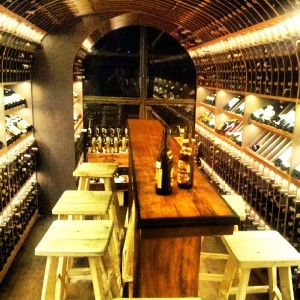 the wine cellar at La Vie Parissiene