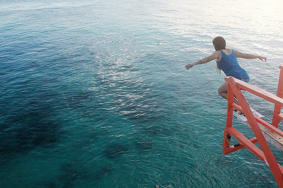 one of us (certainly not me) tried the 30-feet cliff dive