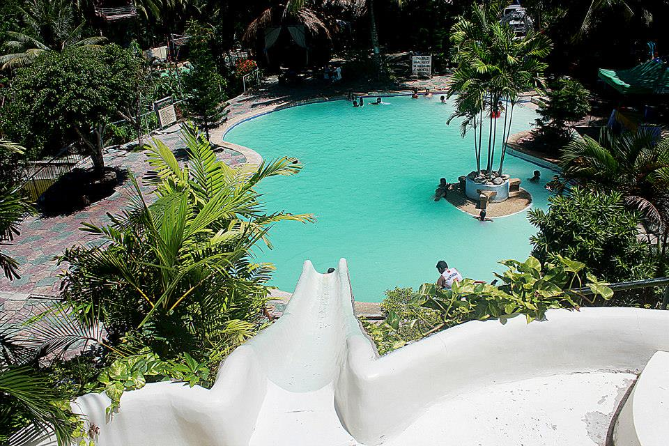 the view of one of the pools from the top of the long slide