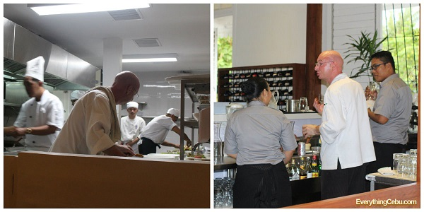 Chef Steve on the move (left: ground floor kitchen, right: wine bar)