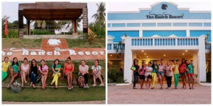 group pics in front of the resort's iconic welcome sign and spacious lobby