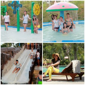 top photos: fountains and fun features in the 5th pool/ lower left: slides at the 3-feet pool/ lower right: lounge chair with the stunning pool and green surroundings as background!