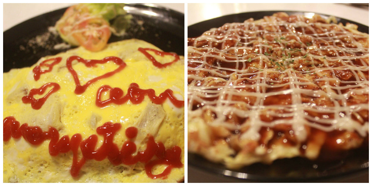 two of their Japanese specialties – Omu rice (fried rice wrapped in an omelette) and Okonomiyaki (pancake composing of cabbage, ham, and flour topped with okonomiyaki sauce and mayonnaise)