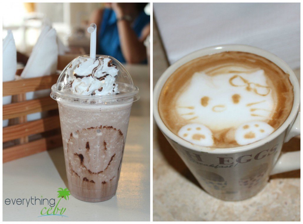 on the left is their sweet Chocolate Royale and on the right is the hot coffee latte with an adorable Hello Kitty art