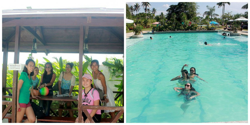left: taking a groupie before swimming/ right: swimming in their huge 5-foot pool!