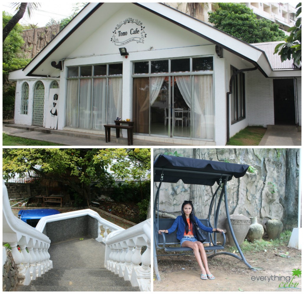 a wide shot of their simple yet elegant facade and their fairytale-like stairs; Vanessa lounging on the swing outside the cafe