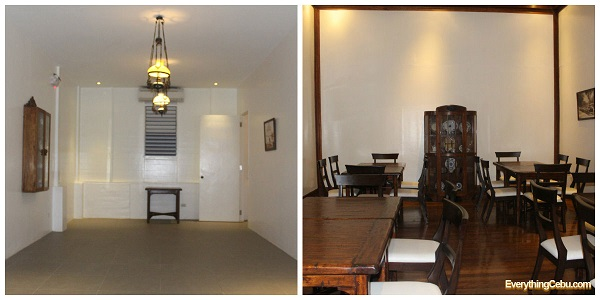the lounge area/function room on the ground floor (left) and the private room on the 2nd floor (right)