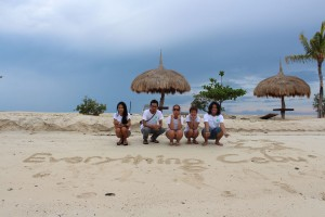 posing before the big Everything Cebu white-sand sign