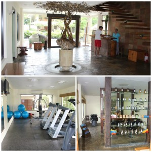 inside the Amuma Spa: the elegantly designed reception area, the fully equipped gym, and the spacious salon