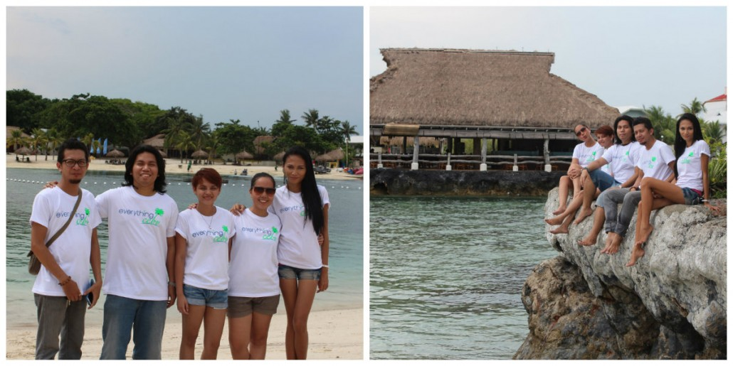 group shots at the private island's white-sand beach and iconic big rock