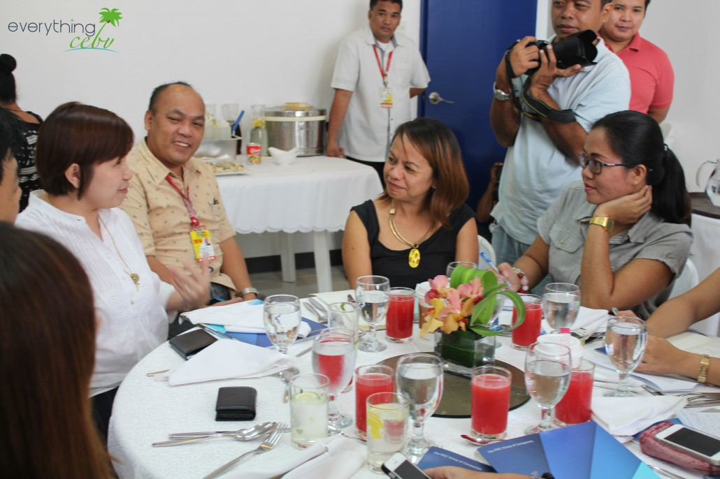Cebu media interviewing Uratex's Marketing Director, Ms Cherry Wong-Tan (far left)