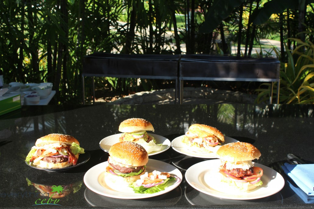 the 5 burgers representing the USA, Greece, Mexico, Australia, and the Philippines
