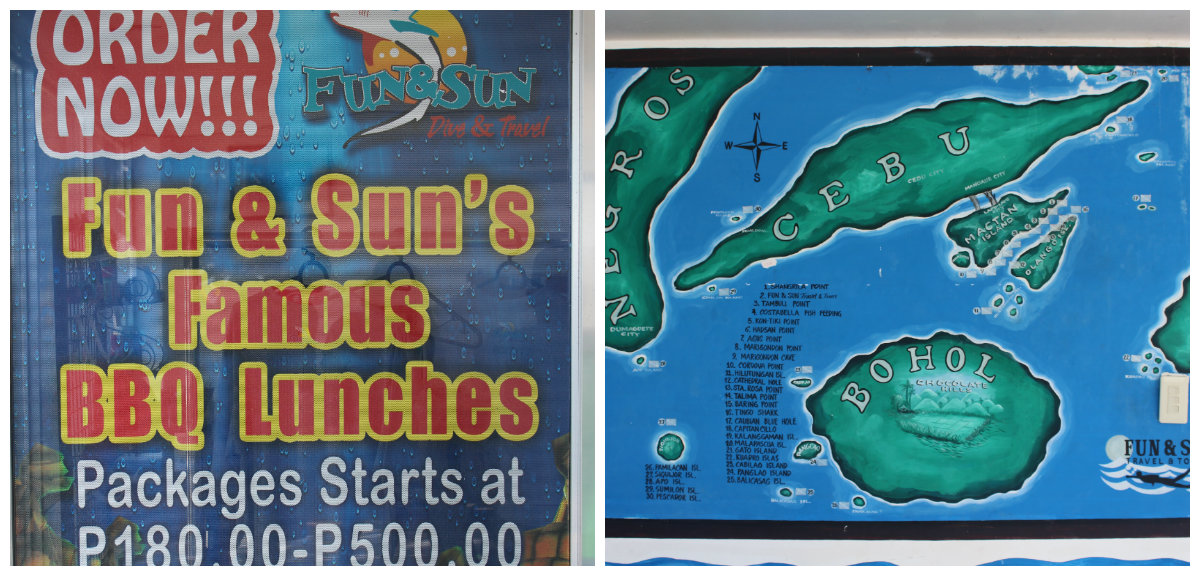 left: Fun&Sun Dive and Travels' food packages/ right: a map showing the company's  island hopping destinations