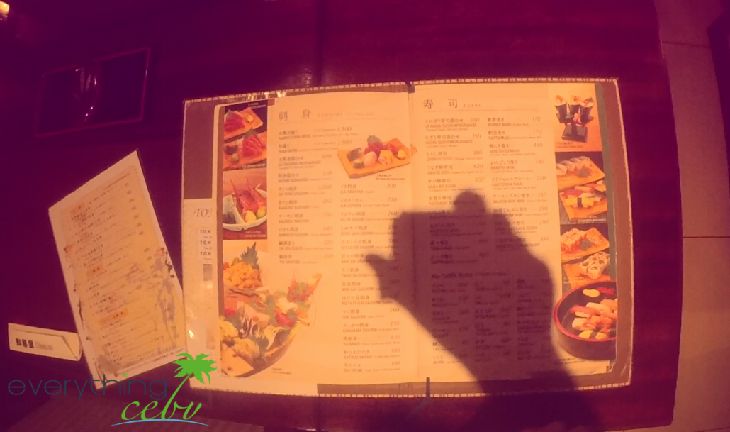 a glimpse into their menu, which is written in Japanese and English