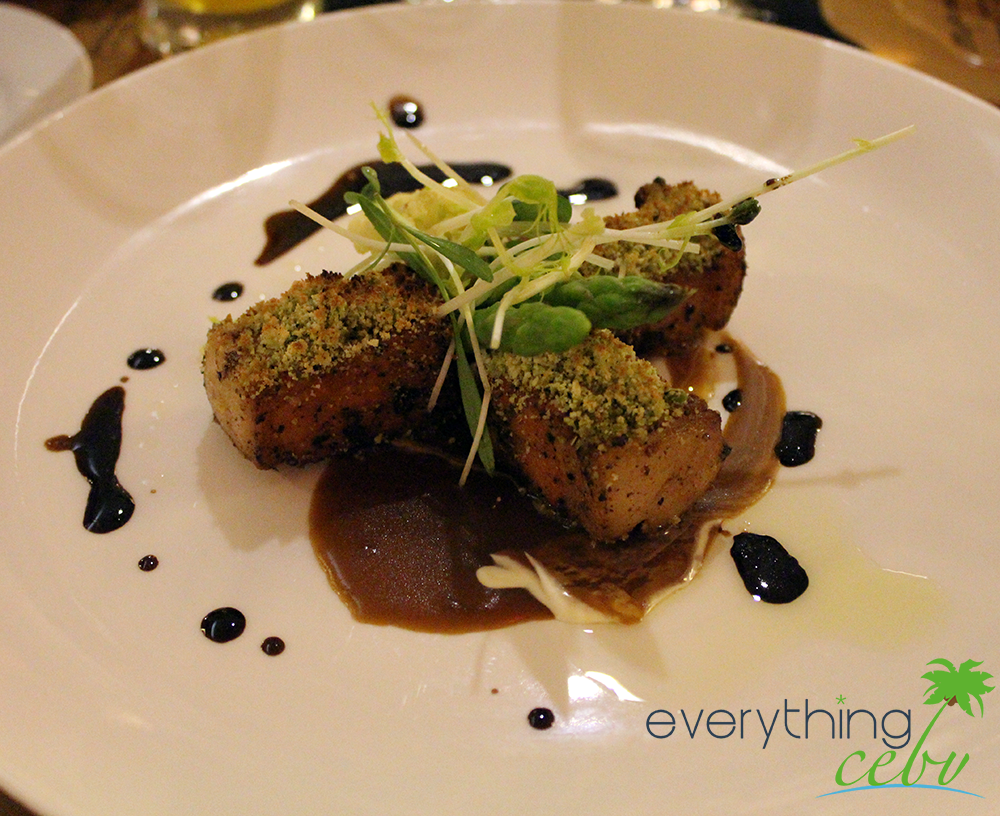 Herbed Crusted Rack of Pork with Sauteed Fresh Vegetables with Microherbs & Port Infused Jus