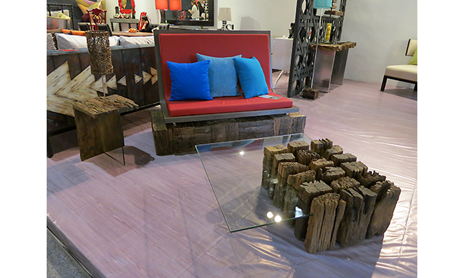 Mina Collection at Manila Fame 2014 - made from old Traviesa wood from Negros; showcased at the International Philippine Furniture Show