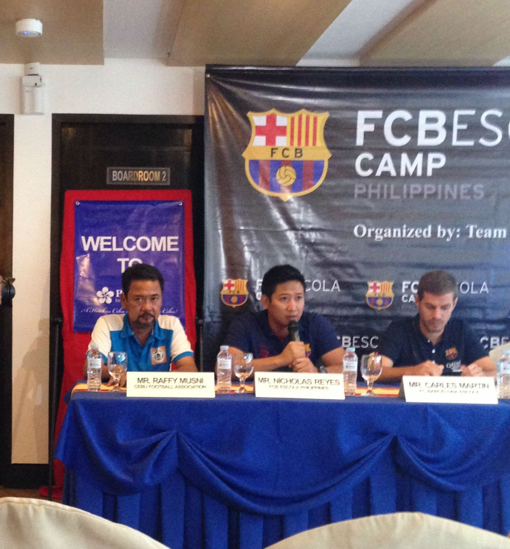 "Mr. Nicolas Reyes of FCB Escola Philippines said that the group believes in the many potential talents of Cebu and that they're ""developing Philippine football from the grassroots""."