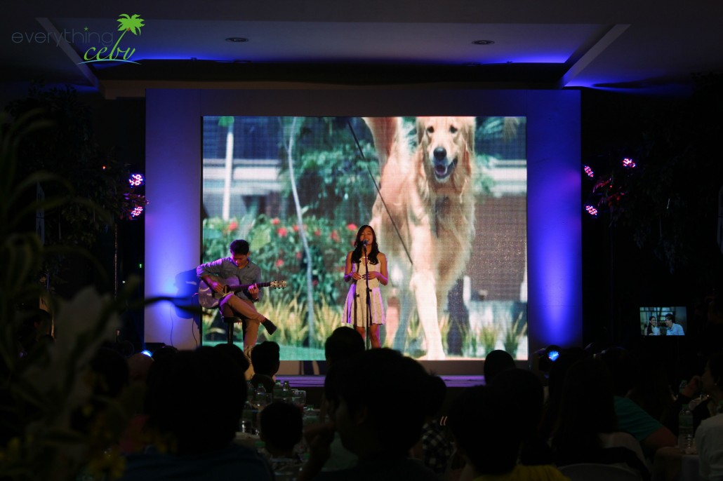 "Myka singing her own composition ""Walk"", which is also the theme song of the mall's newly launched TV commercial"