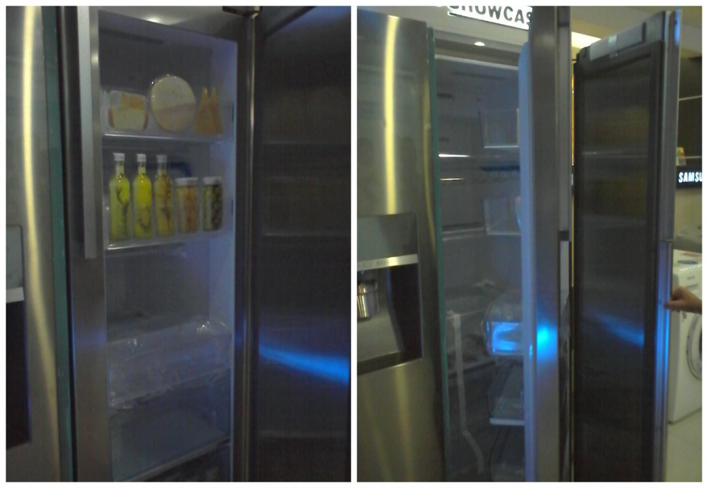 (left pic showing the showcase door and the right pic showing the 2 doors of the refrigerator)