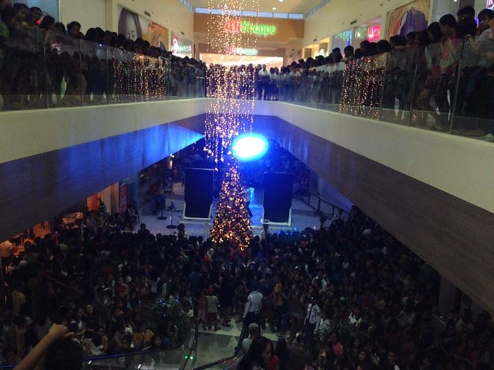 The huge crowd during the mall's opening last month