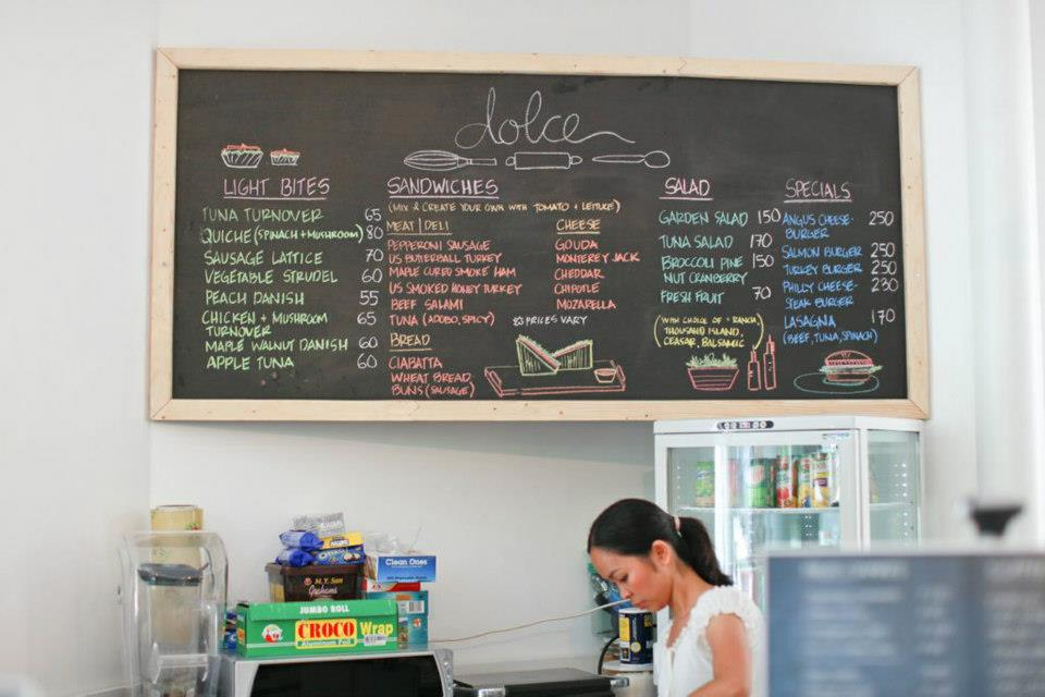 Dolce Cafe's artsy menu. (image source: Dolce Cafe Facebook page)