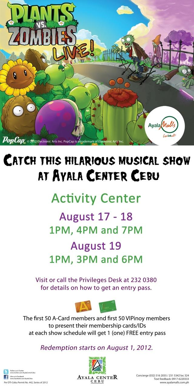 Plants vs Zombies poster Aug. 17-19, 2012